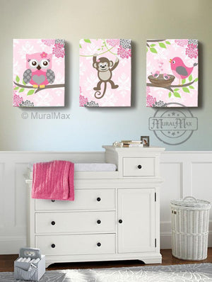 Baby Girl Pink and Gray Nursery Floral Monkey Bird & Owl Canvas Decor - Set of 3-Animal Nursery ArtBaby ProductMuralMax Interiors