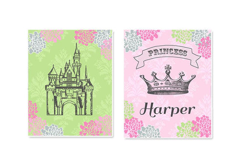 Baby Girl Princess Nursery Art - Personalized Princess Crown & Castle Girl Room Decor - Set of 2 - Unframed Prints - MuralMax Interiors