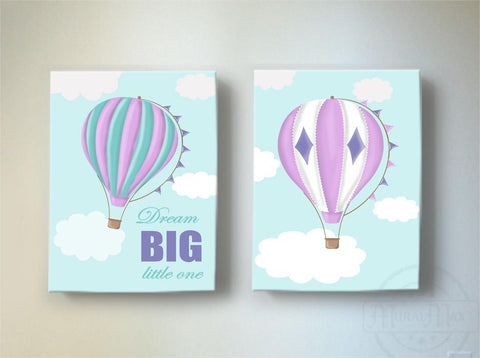 Baby Girl Room Decor Dream Big Hot Air Balloon Canvas Art - Adventure Nursery Art for Girls - Set of 2Baby ProductMuralMax Interiors