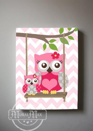 Baby Girl Room Decor Owl Always Love You Decor - Canvas Nursery Art CollectionBaby ProductMuralMax Interiors