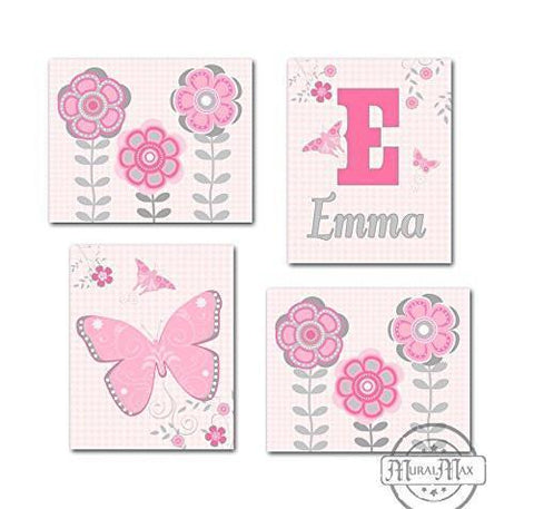 Baby Girl Room Decor Personalized Flowers & Butterfly Theme - Set of 4 - Unframed Prints-B01CRT9G3S - MuralMax Interiors