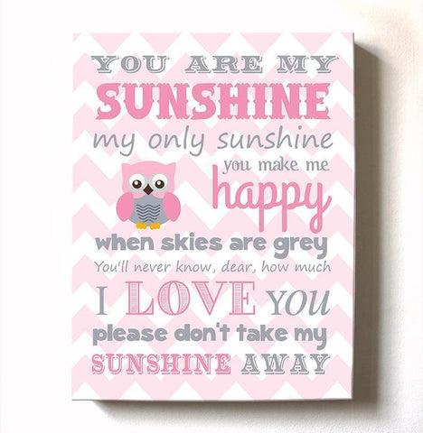 Baby Girl Room Decor You Are My Sunshine Canvas Art - Inspirational Quote Nursery Wall Art