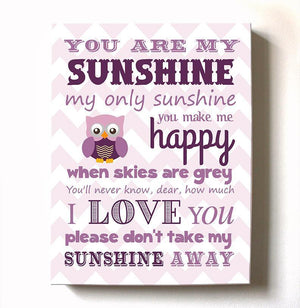 Baby Girl Room Decor You Are My Sunshine Canvas Art - Inspirational Quote Nursery Wall ArtBaby ProductMuralMax Interiors
