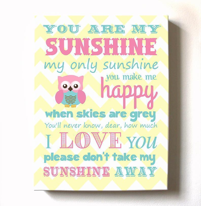 Baby Girl Room Decor You Are My Sunshine Canvas Art - Inspirational Quote Nursery Wall Art-MuralMax Interiors