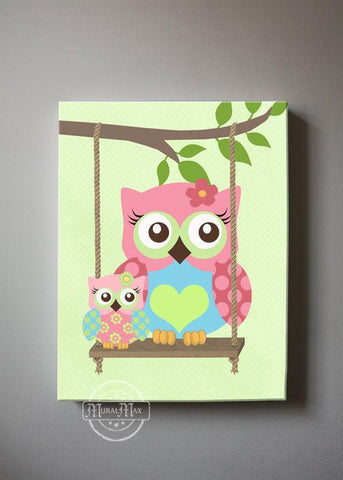 Baby Girl Room Wall Art - Pink Aqua Green Owl Canvas Decor - The Owl Collection