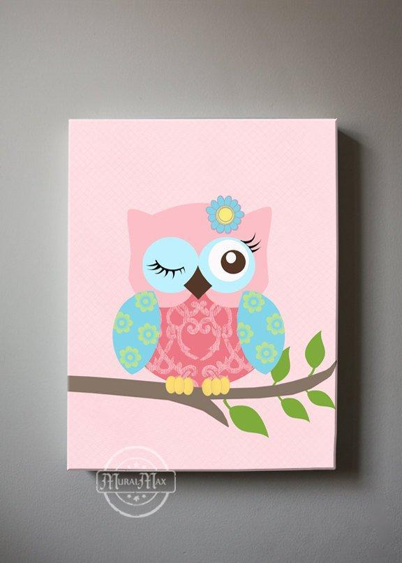 Baby Girl Room Wall Art - Pink Aqua Green Owl Canvas Decor - The Owl Collection - MuralMax Interiors