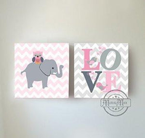 Baby Girl Wall Art - Chevron Elephant Owl and Love Inspirational Quote - The Safari Canvas Decor Set of 2 - MuralMax Interiors