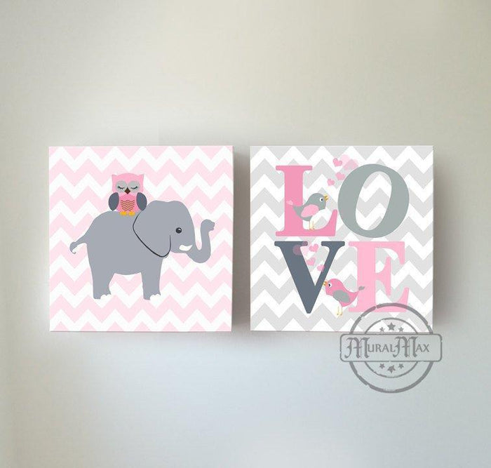 Baby Girl Wall Art - Chevron Elephant Owl and Love Inspirational Quote - The Safari Canvas Decor Set of 2