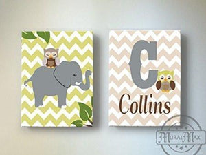 Baby Name and Elephant Safari Canvas Nursery Decor - Set of 2 Green Tan Decor - MuralMax Interiors