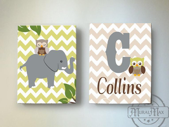 Baby Name and Elephant Safari Canvas Nursery Decor - Set of 2 Green Tan Decor
