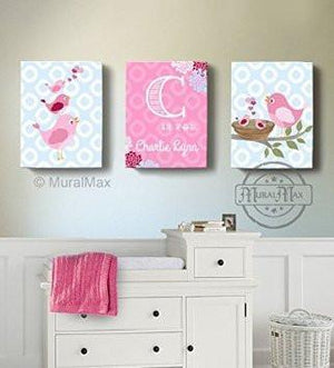 Baby Nursery Art - Pink Personalized Polka Dots Bird Family Canvas Decor - Set of 3 - Birds Collection-B018GSW9H4 - MuralMax Interiors
