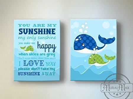 Baby Nursery Sea Ocean Animals Wall Art - You Are My Sunshine Canvas Wall Decor - Whale Nursery Art - Set of 2