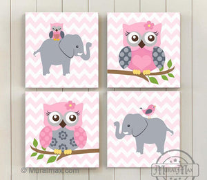 Baby Nursery Wall Art Baby Pink Gray Elephant Owl Girl Room Decor Set of 4 - MuralMax Interiors