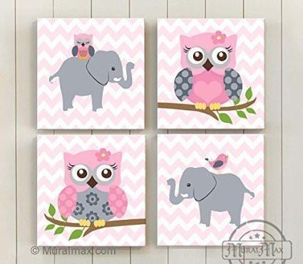 Baby Nursery Wall Art Baby Pink Gray Elephant Owl Girl Room Decor Set of 4
