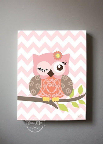 Baby Owl Canvas Nursery Decor - The Owl Nursery Art - Coral Green Artwork