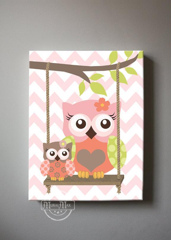 Baby Owl Canvas Nursery Decor - The Owl Nursery Art - Coral Green Artwork-MuralMax Interiors
