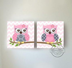 Baby Owl Family Perched On A Branch - The Safari Canvas Nursery Decor - Set of 2-B018ISOITYBaby ProductMuralMax Interiors