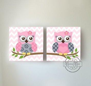 Baby Owl Family Perched On A Branch - The Safari Canvas Nursery Decor - Set of 2-B018ISOITY