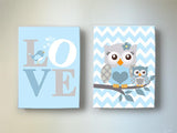 Baby Owl & Mom Canvas Nursery Art - Blue Gray Baby Boy Room Decor - Set of 2Baby ProductMuralMax Interiors