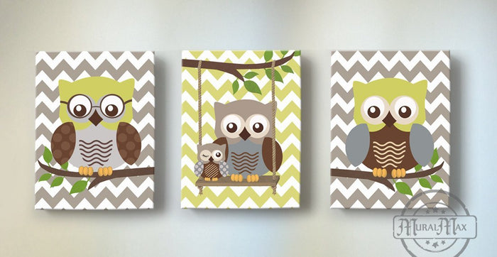 Baby Owl Nursery Art - Chevron Owl Family Boys Room Decor - Set of 3 - Brown Tan Olive Decor