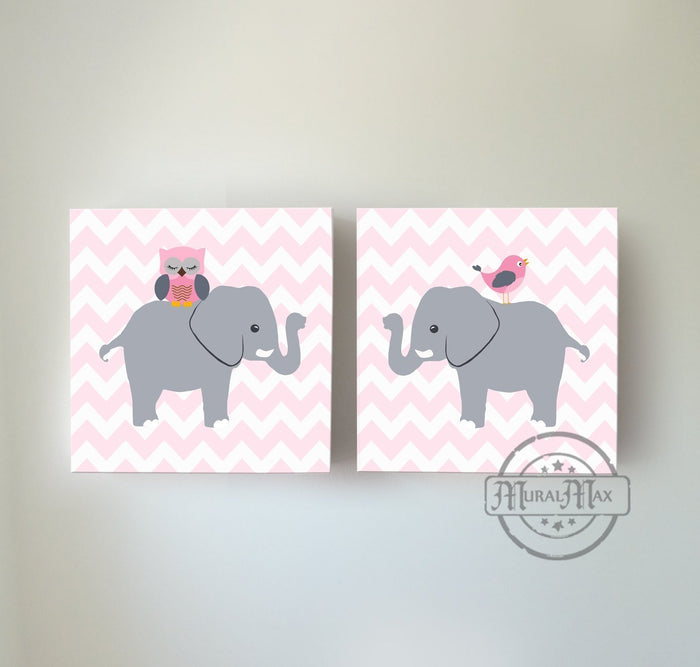 Baby Pink And Gray Chevron Owl & Elephant Canvas Nursery Decor Set of 2