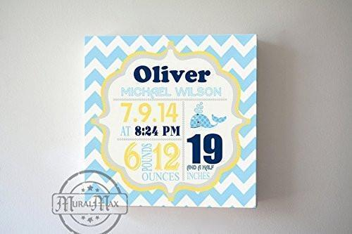 Baby Shower Gift Personalized Baby Birth Announcements For Boy - Whale Nursery Art Baby Boy - Unique Baby GiftsBaby ProductMuralMax Interiors