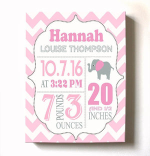 Baby Shower Gift Personalized Birth Announcement Canvas Wall Art - Girl Nursery Decor - B073W14DNL - MuralMax Interiors