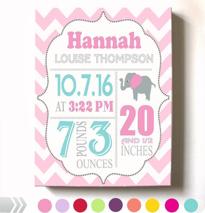 Baby Shower Gift Personalized Birth Announcement Canvas Wall Art - Girl Nursery Decor - B073W14DNL