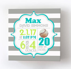 Baseball Nursery Art - Custom Baby Boy Birth Announcements Newborn Baby Gifts Canvas Wall ArtBaby ProductMuralMax Interiors