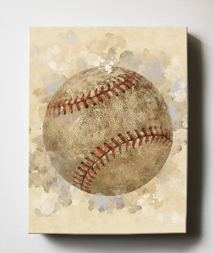 Baseball Sports Canvas Nursery Wall Decor - Unique Boy Room Art Gifts for Bedrooms & Playrooms - Great Baby Shower Presents
