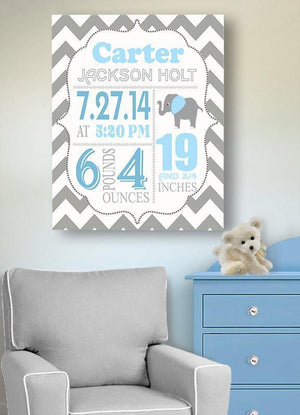 Birth Announcement Canvas Wall Art - Personalized Chevron Elephant Boy Room Decor - Baby GiftBaby ProductMuralMax Interiors