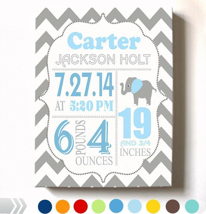 Birth Announcement Canvas Wall Art - Personalized Chevron Elephant Boy Room Decor - Baby Gift