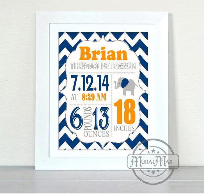 Birth Announcement Elephant Nursery Print - Navy and Orange Elephant Nursery Decor - Unframed Print