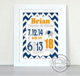 Birth Announcement Elephant Nursery Print - Navy and Orange Elephant Nursery Decor - Unframed Print-MuralMax Interiors