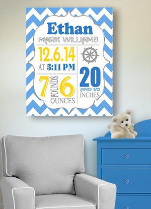 Birth Announcement Nautical Canvas Nursery Wall Art - Personalized Baby Gift- Baby Nursery Decor - B0723D4NWX - MuralMax Interiors