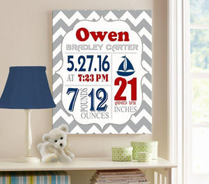 Birth Announcement Nautical Nursery Wall Art - Personalized Canvas Art - Baby Gift - Baby Nursery Decor - B072JBYQZF - MuralMax Interiors