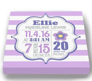 Birth Announcement Subway Art - Personalized New Baby Gift Birth Announcements Floral Nursery DecorBaby ProductMuralMax Interiors
