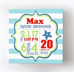 Birth Announcements Boy Nursery Canvas Decor - Beach Nursery Art for Baby Boy - New Baby AnnouncementBaby ProductMuralMax Interiors