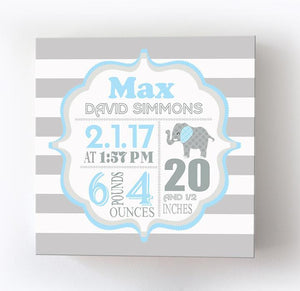 Birth Announcements Wall Art- Birth Details Baby Boy Elephant Nursery Decor - Stretched Canvas Wall ArtBaby ProductMuralMax Interiors