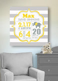 Birth Announcements Wall Art- Birth Details New Baby Girl Gift - Elephant Nursery Decor - Stretched Canvas Wall Art-B0723D5TSR-MuralMax Interiors