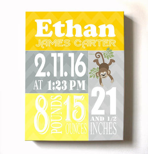 Birth Stat Wall Art - Boy Birth Announcements Monkey Jungle Nursery Decor - New Baby GiftsBaby ProductMuralMax Interiors