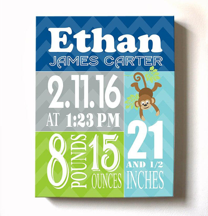 Birth Stat Wall Art - Boy Birth Announcements Monkey Jungle Nursery Decor - New Baby Gifts