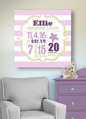 Birth Stats For Girls - Starfish Beach Nursery Decor - Make Your New Baby Gifts MemorableBaby ProductMuralMax Interiors