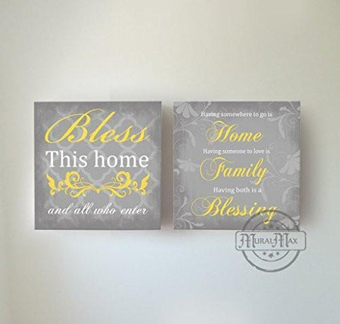 Bless This Home & All Who Enter Quote, Stretched Canvas Wall Art, Memorable Anniversary Gifts, Unique Wall Decor, Color, Gray - 30-DAY - Set of 2-B018KOBFMO-MuralMax Interiors