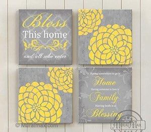 Bless This Home - Inspirational Quote - Dahlia Floral Mums Canvas Home Decor - Living Room Wall Art - Set of 4-B018ISJ8RG - MuralMax Interiors