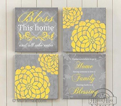 Bless This Home - Inspirational Quote - Dahlia Floral Mums Canvas Home Decor - Living Room Wall Art - Set of 4-B018ISJ8RG