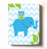 Blue and Green Nursery Art - Owl and Elephant Kids Room Canvas Art - MuralMax Interiors