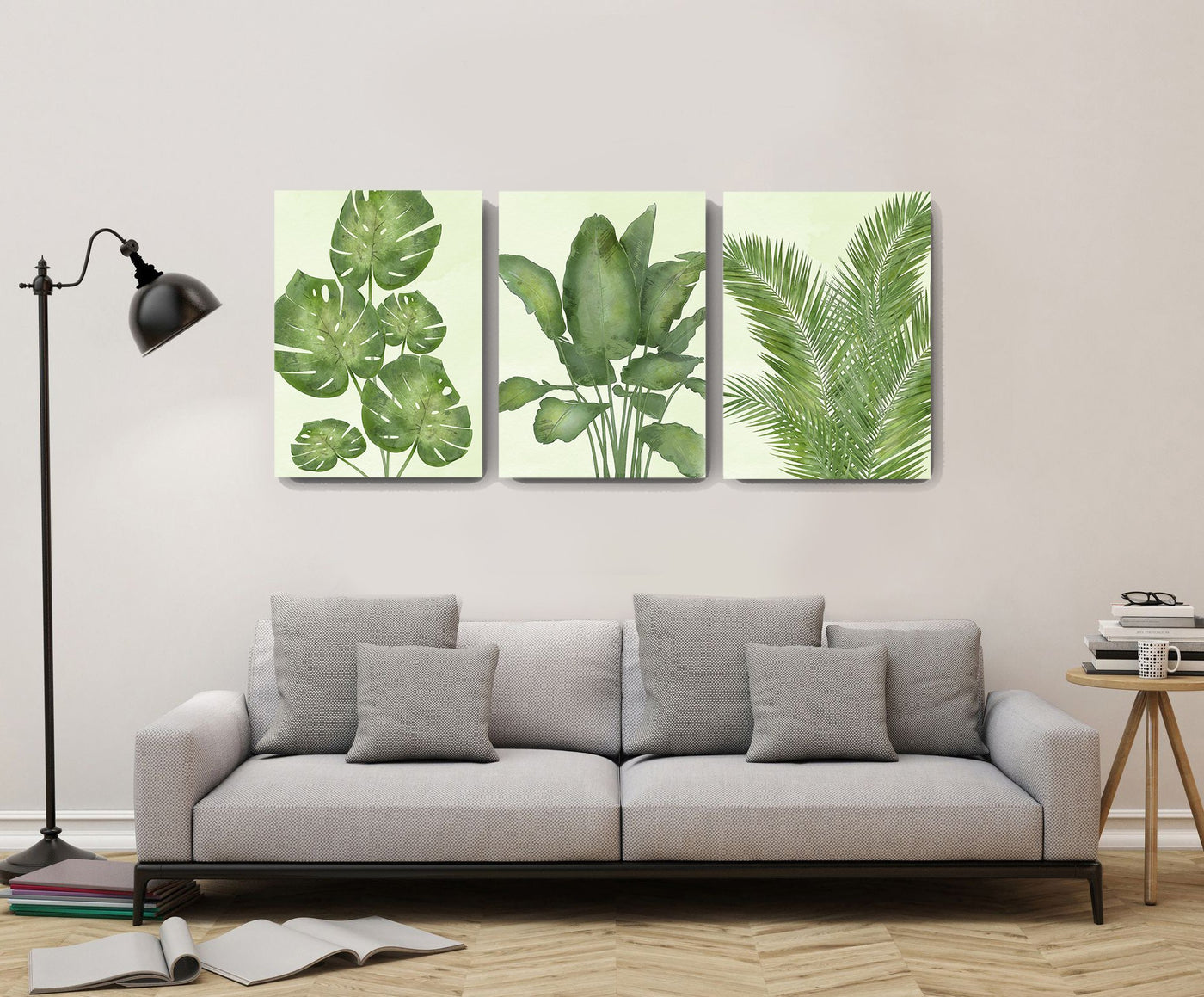 botanical wall decor banana tree palm leaf canvas wall art watercolor painting tropical leaves living room bedroom wall decoration set of 3 muralmax 3 1400x