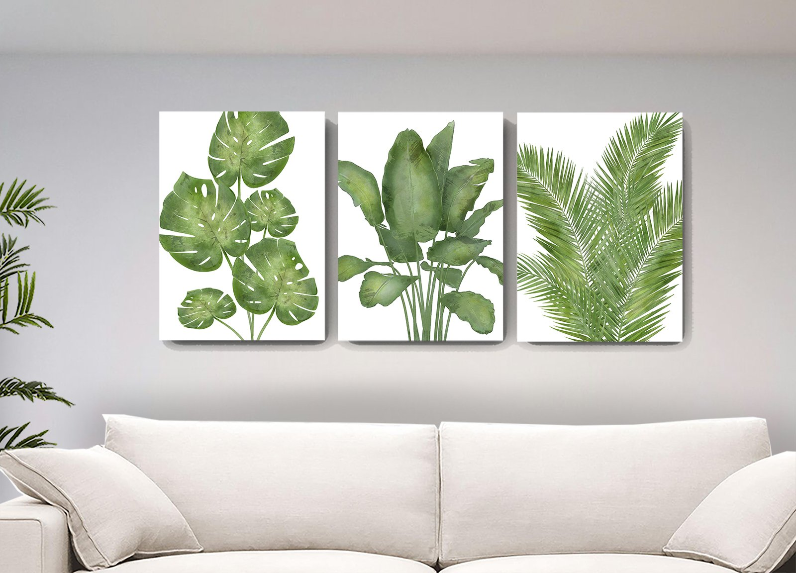 botanical wall decor banana tree palm leaf canvas wall art watercolor painting tropical leaves living room bedroom wall decoration set of 3 muralmax 8 1600x