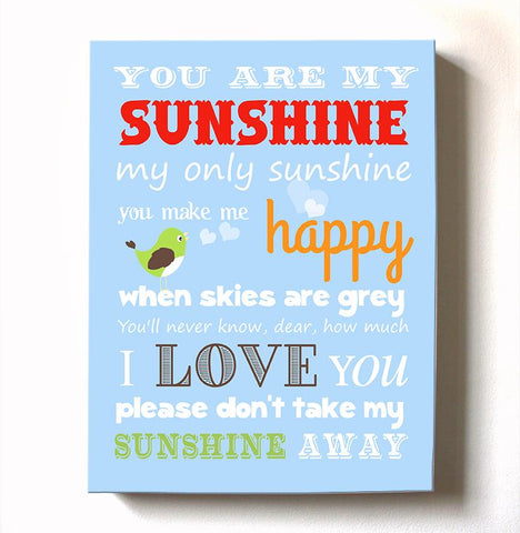 Boy Nursery Art - You Are My Sunshine Boy Canvas Art - Inspirational Quote Baby Shower Gift - MuralMax Interiors